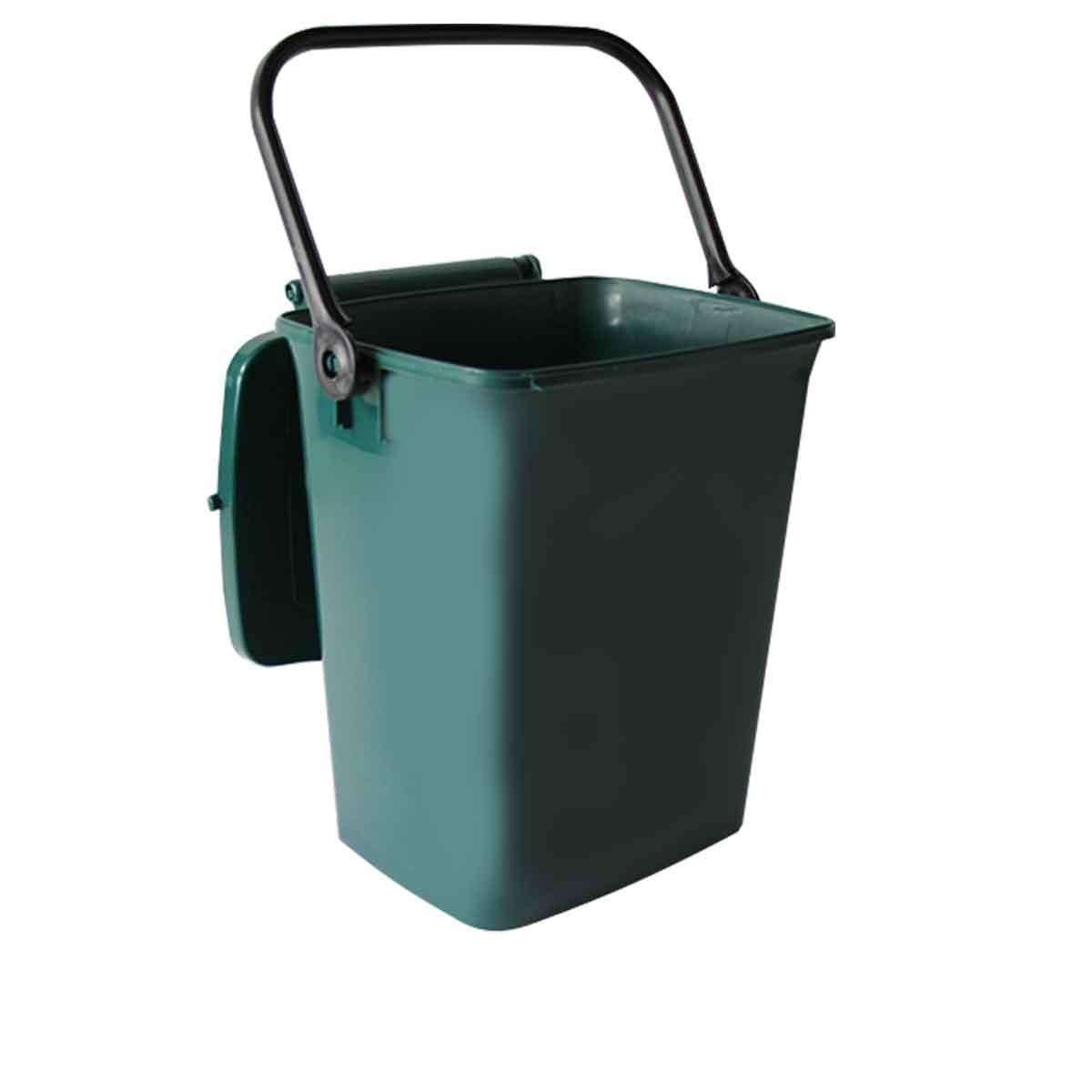 composteur en plastique vert avec anse et couvercle