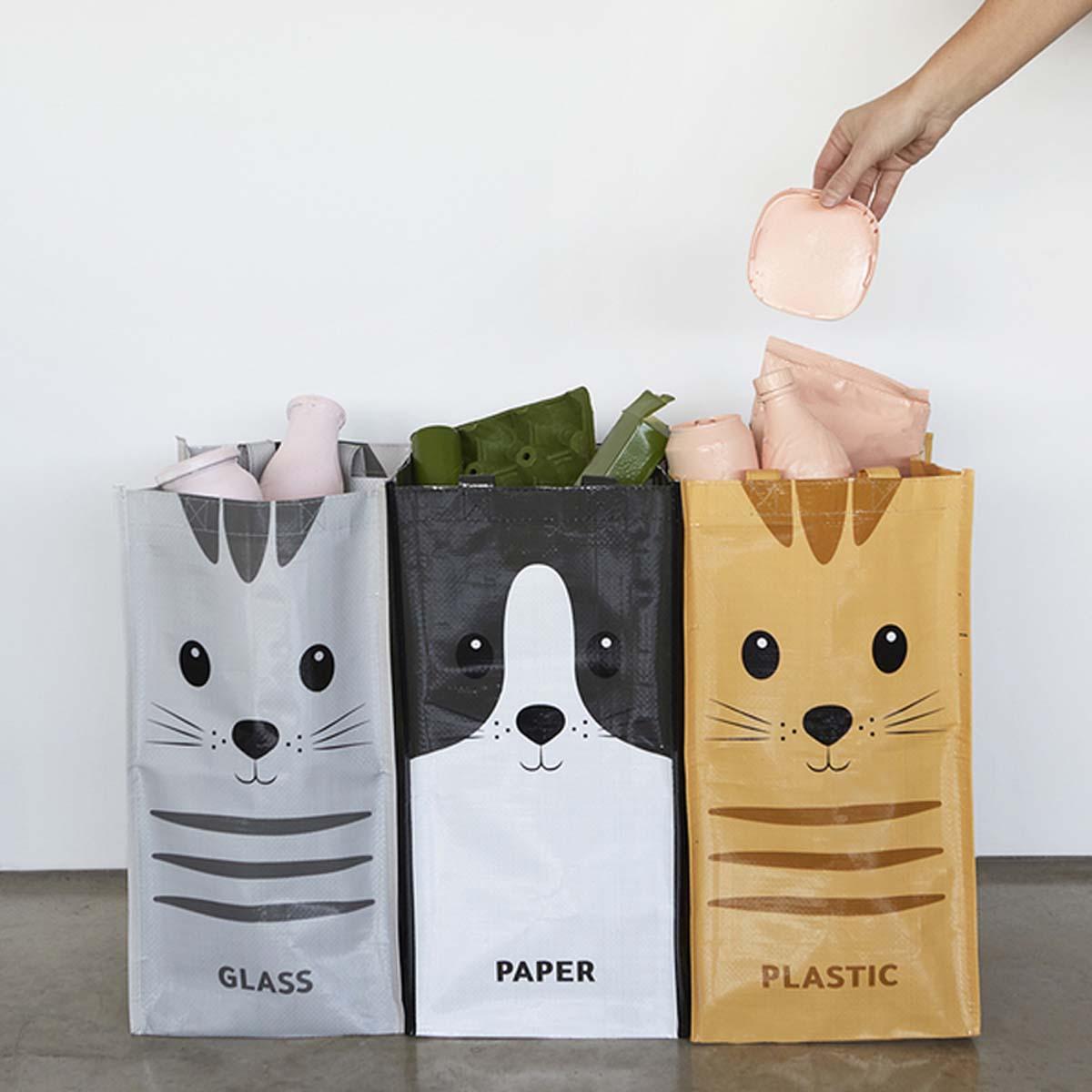 3 sacs pour tri des déchets - Chat